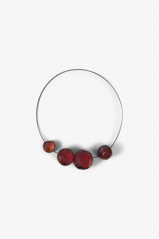 Collier 4 boules Roses Orangées - Marianne Olry