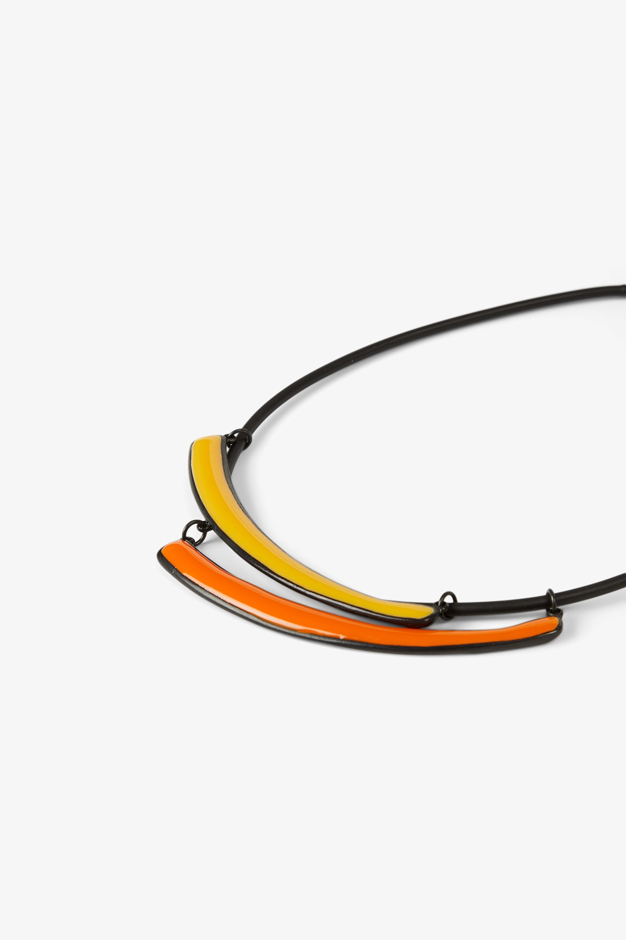 Collier 2 virgules - Thierry Joo - Jaune foncé et Orange