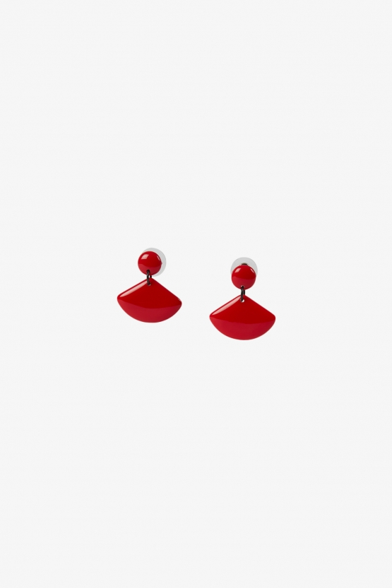 Thierry Joo - Boucles d'oreilles Grands Eventails - Rouge