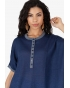 Top Ample Col Tunisien Maille Lin Bleu nuit
