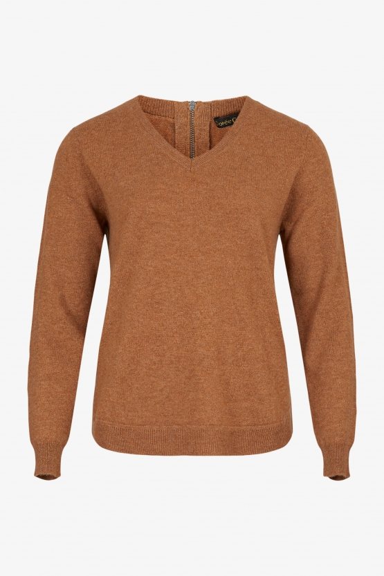 Pull Cachemire Col V Zip Cuir