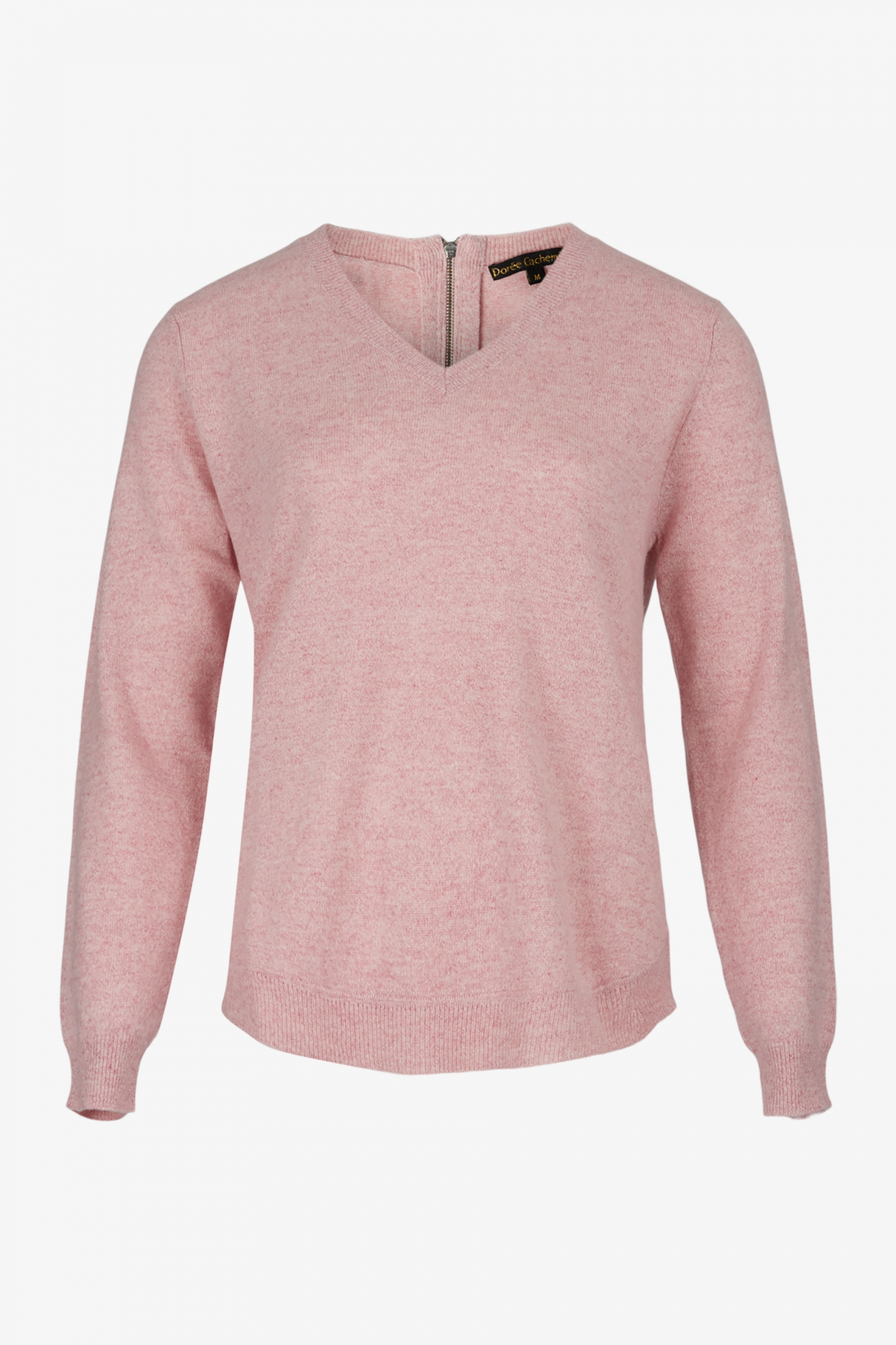 Pull Cachemire Col V Zip Rose Chiné