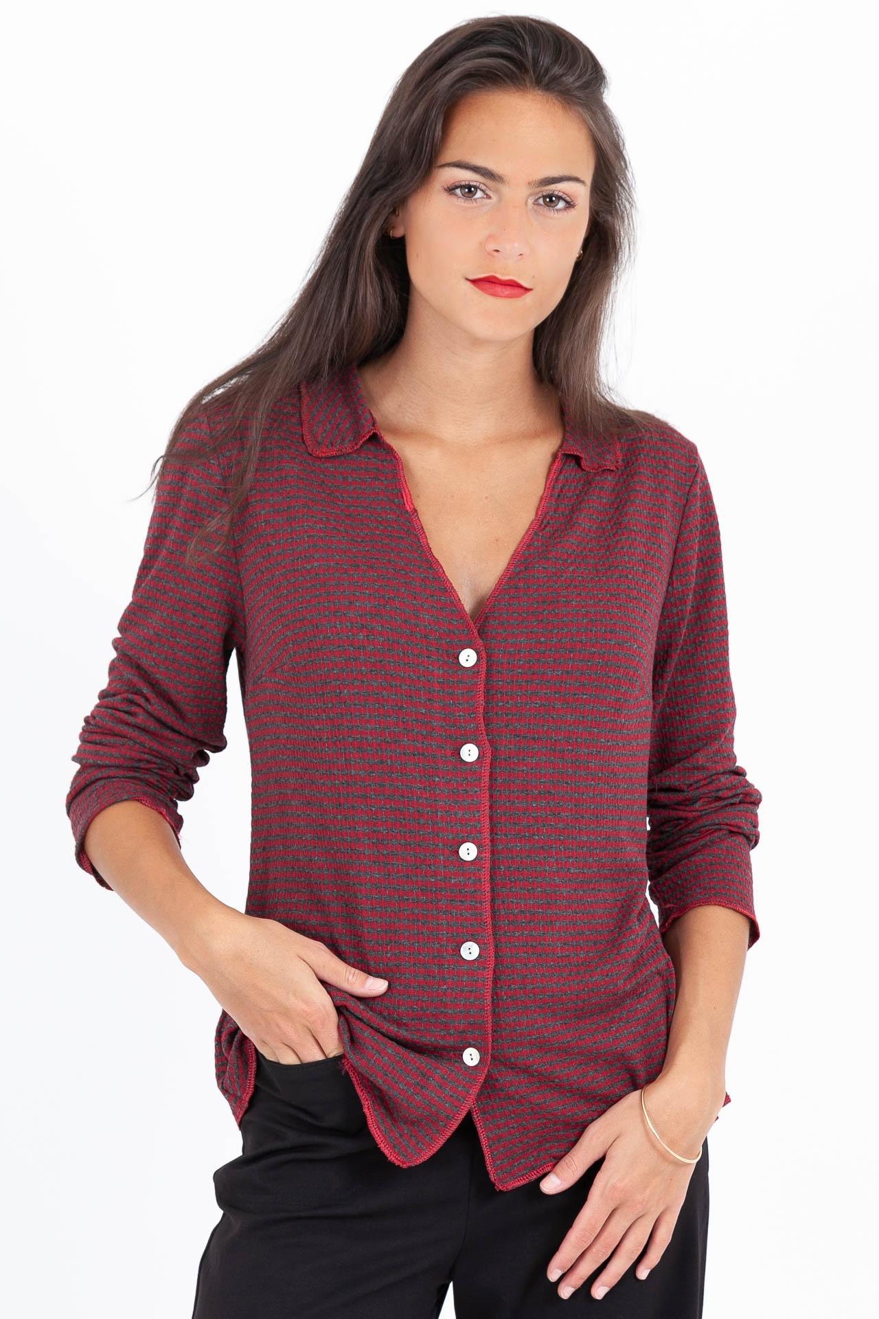 Chemise Jersey Gris/Rouge