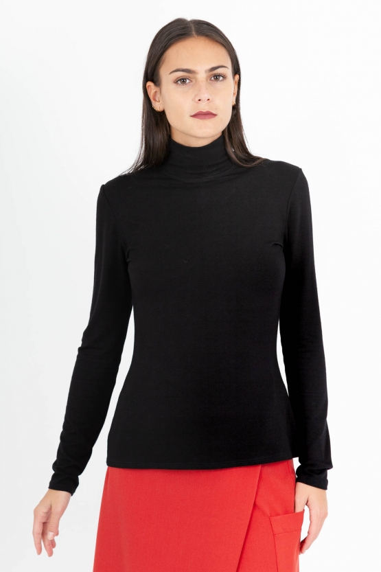 Pull col cheminée bambou noir