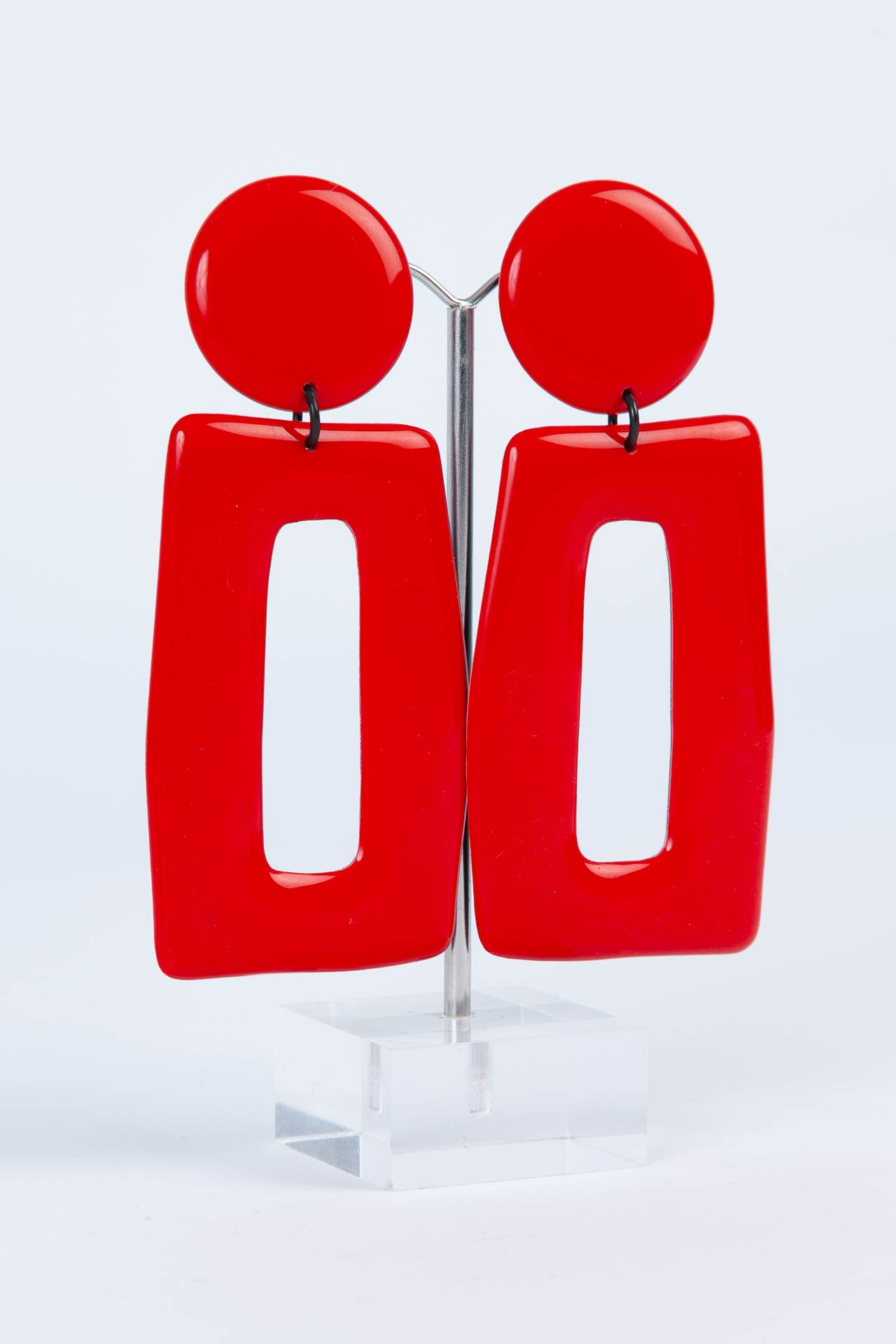 Boucle d'oreille grand rectangle Rouge - Thierry Joo