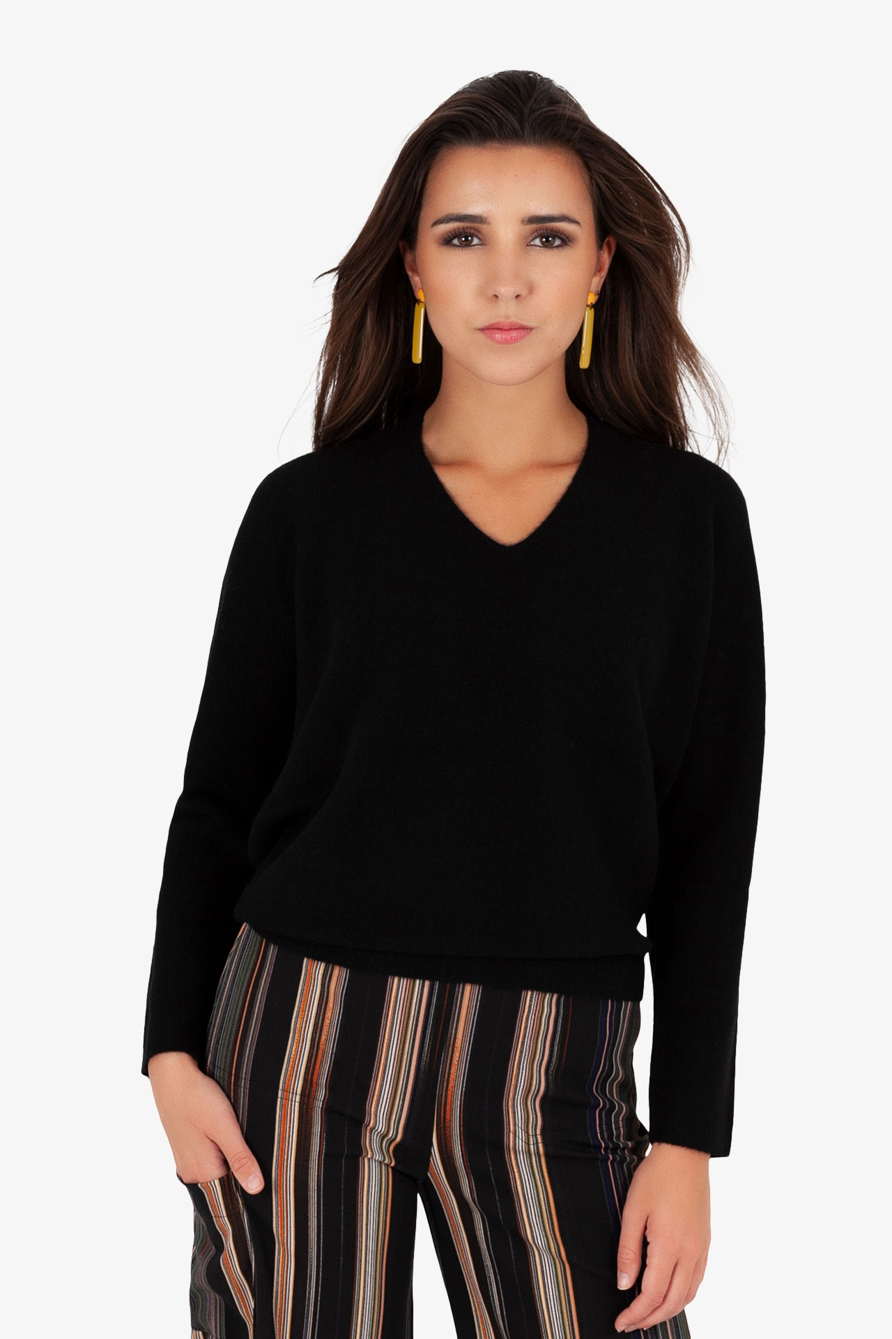 Pull col V Point de Riz sans couture Noir