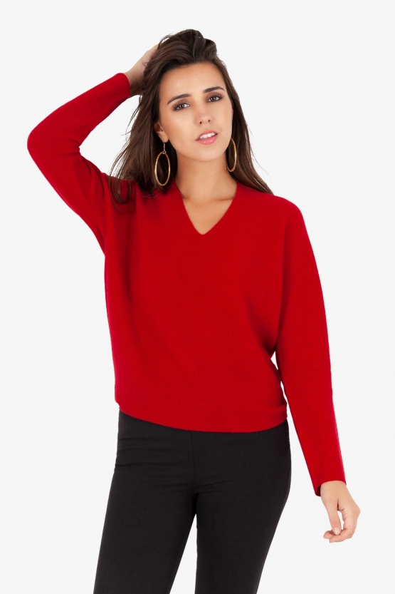 Pull col V Point de Riz sans couture Ketchup