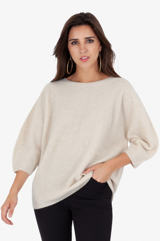 Pull ras-de-cou Point de Riz sans couture Sable